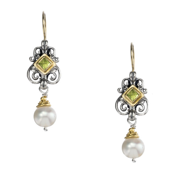Gerochristo Solid 18K Gold, Silver & Stones - Medieval Dangle Earrings