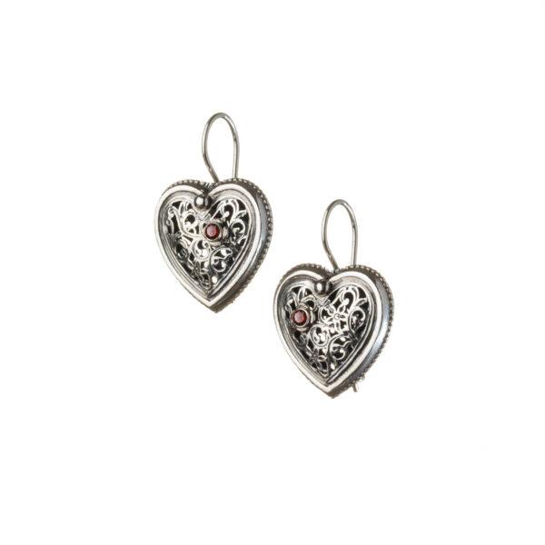 Sterling Silver Filigree Heart Earrings with Garnet