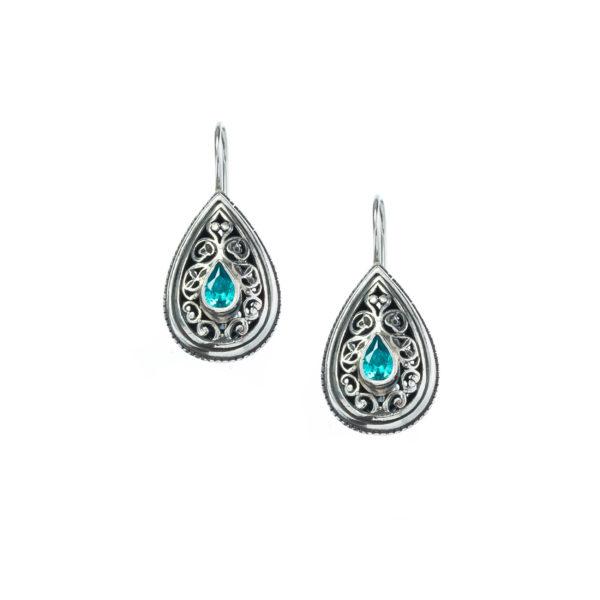 Handmade Silver Blue Topaz, Gerochristo byzantine earrings.