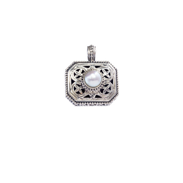 Sterling Silver & Pearl Medieval-Byzantine Charm Pendant