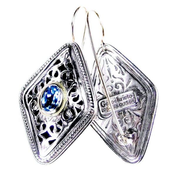 Gerochristo Silver & Zircon - Medieval Byzantine Filigree Earrings