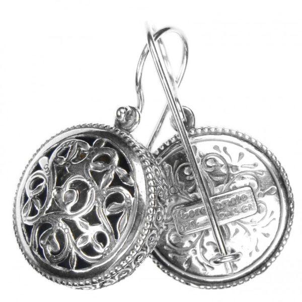 Gerochristo Sterling Silver Filigree drop earrings in floral filigree motifs