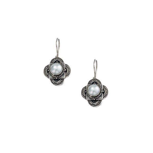 Sterling Silver & Pearls Medieval-Byzantine Drop Earrings