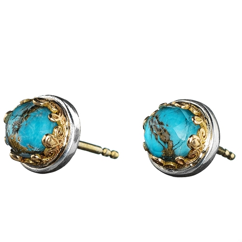 Gerochristo Solid 18K Gold & Silver Medieval Doublet Post Earrings with Turquoise