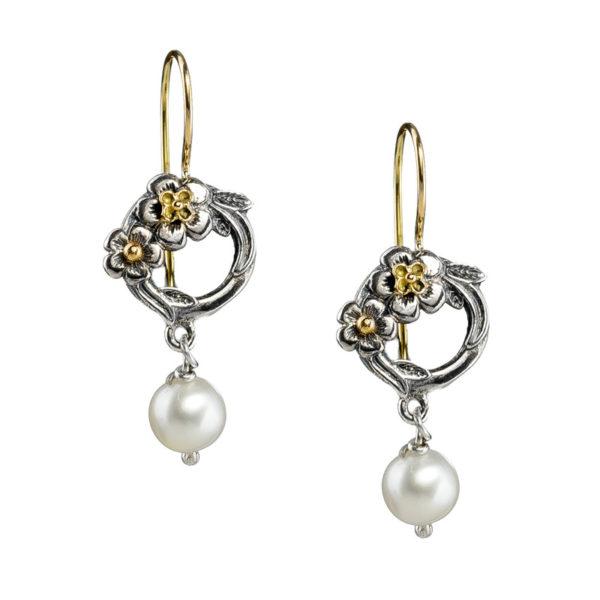 Gerochristo Solid 18K Gold & Sterling Silver Flower Drop Earrings