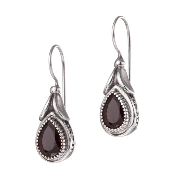 Gerochristo Sterling Silver and Garnet Medieval-Byzantine Drop Earrings