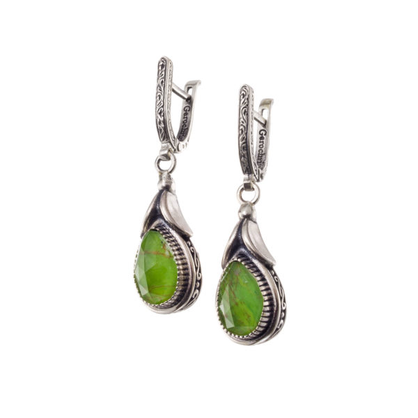 Gerochristo Sterling Silver & Garnet Medieval-Byzantine Drop Earrings