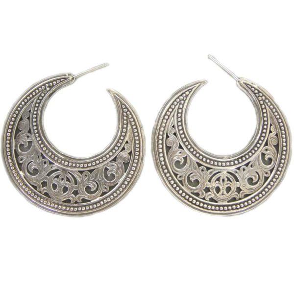 Gerochristo Sterling Silver Byzantine Crescent shape Half Hoop earrings in large size