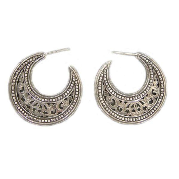 Gerochristo Sterling Silver Byzantine Crescent shape Half Hoop earrings in medium size