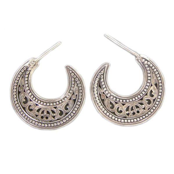 Gerochristo Sterling Silver Byzantine Crescent shape Half Hoop earrings in small size