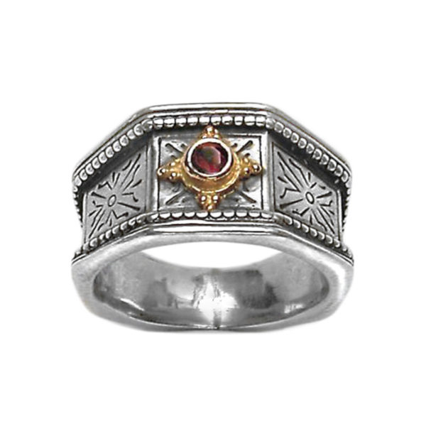Solid 18K Gold & Silver Medieval-Byzantine Single Stone Band Ring