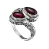 Sterling Silver Byzantine Bypass Wrap Ring with Garnet