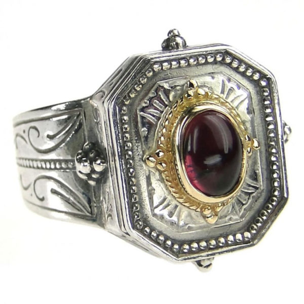 Gerochristo Solid 18K Gold, Sterling Silver & Stone - Medieval Byzantine Ring
