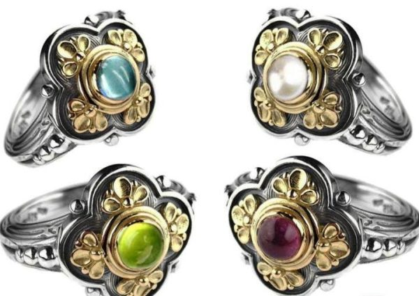 Solid 18K Gold & Sterling Silver with Gemstones - Medieval-Byzantine Ring