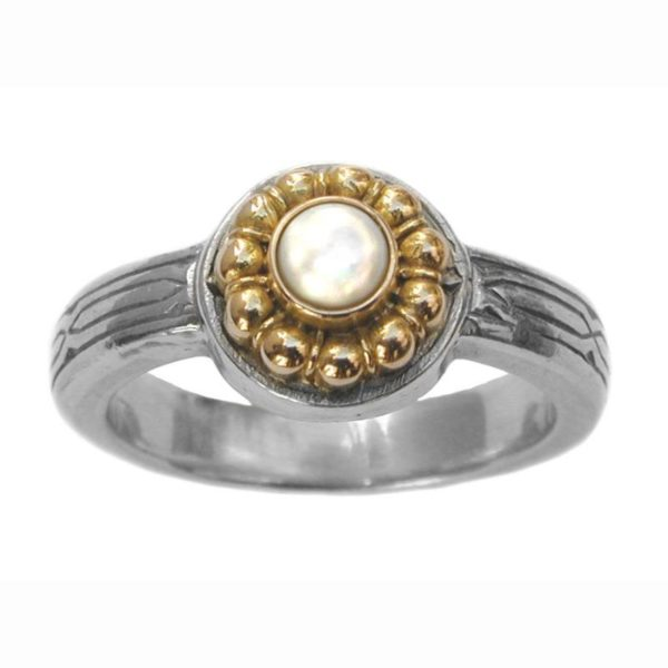 Solid 18K Gold & Sterling Silver Medieval-Byzantine Ring