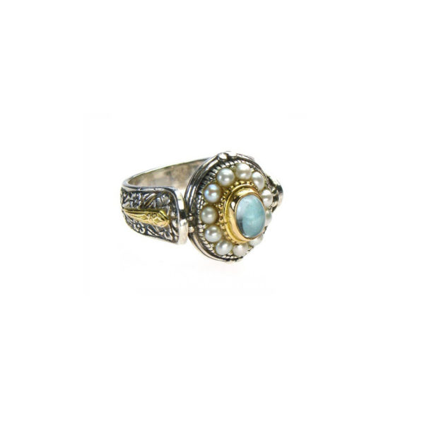 Gerochristo Solid 18K Gold, Silver & Pearls Ornate Medieval-Byzantine Ring