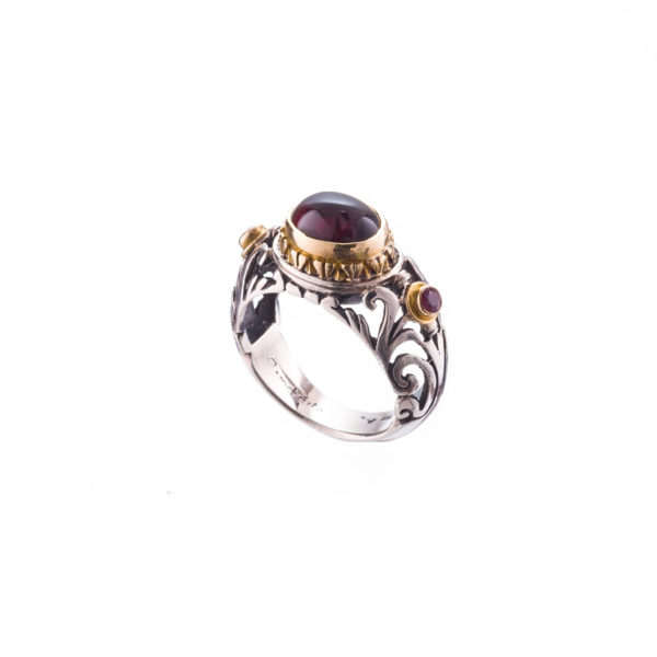 Solid 18K Gold, Silver & Stones Medieval Band Ring