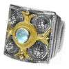 Gerochristo Solid 18K Gold, Silver & Stones Medieval Byzantine Ring