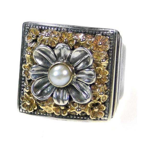 Gerochristo Solid 18K Gold & Sterling Silver Medieval Byzantine Ring