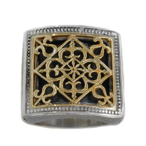Solid 18K Gold & Sterling Silver Medieval Byzantine Ring