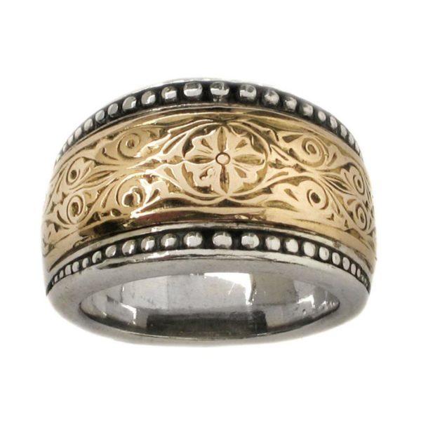 Gerochristo Solid 18K Gold & Sterling Silver Medieval-Byzantine Ring