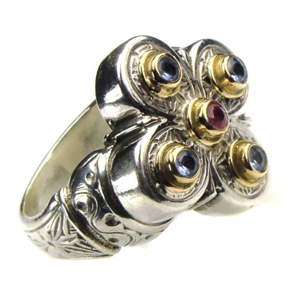 GerochristoSolid 18K Gold & Sterling Silver with Ruby Medieval-Byzantine Cross Ring