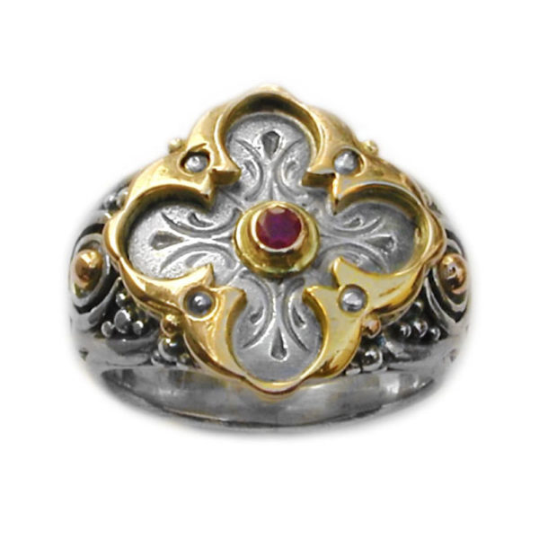 Gerochristo Solid 18K Gold, Silver & Ruby - Medieval Byzantine Cross Ring