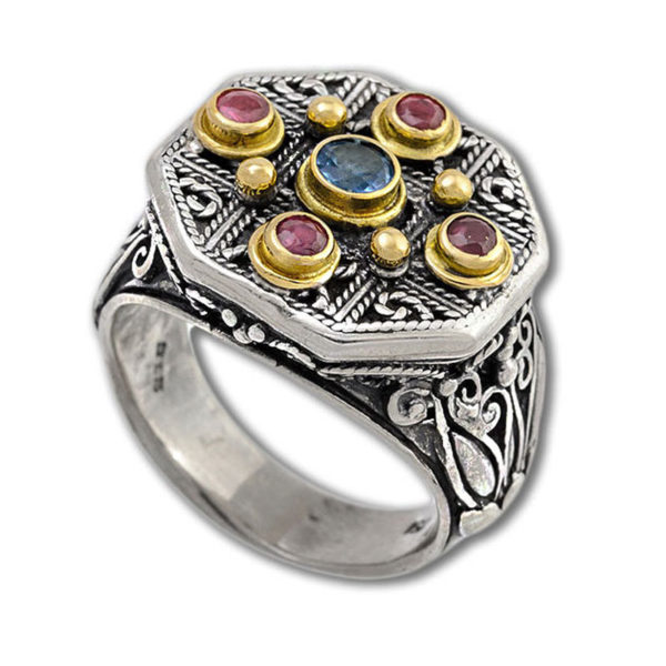 Gerochristo Solid 18K Gold, Silver & Stones - Medieval Byzantine Multicolor Ring