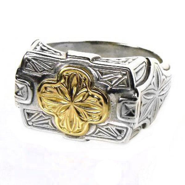 Gerochristo Solid 18K Gold & Silver - Medieval-Byzantine Cross Ring