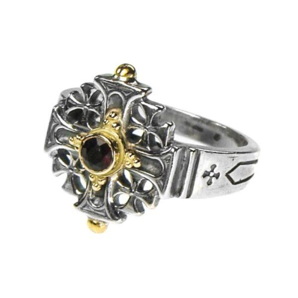 Gerochristo Solid 18K Gold, Silver & Stone - Medieval-Byzantine Jerusalem Cross Ring.