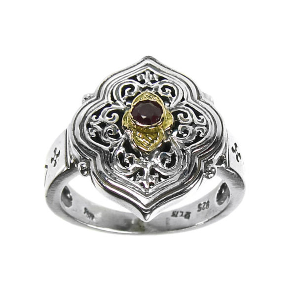 Solid 18K Gold & Silver Medieval-Byzantine Single Stone Ring