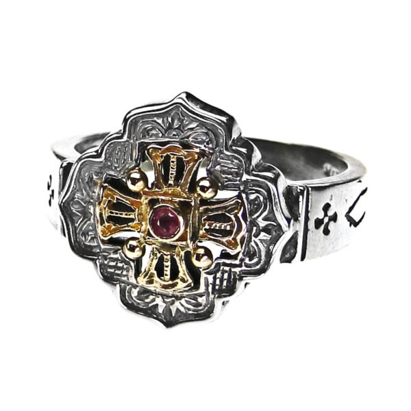 Solid 18K Gold, Silver & Stone - Medieval-Byzantine Cross Ring