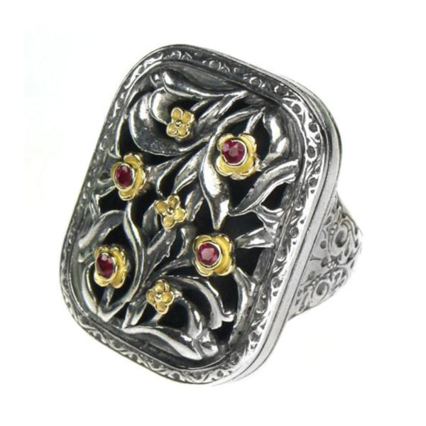 Gerochristo Solid 18K Gold, Silver & Rubies Medieval-Byzantine Ring