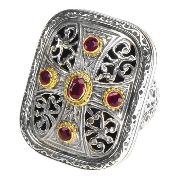 Solid 18K Gold, Silver & Rubies - Medieval Byzantine Cross Ring