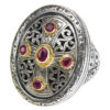 Gerochristo Solid 18K Gold, Silver & Rubies - Medieval Byzantine Cross Ring