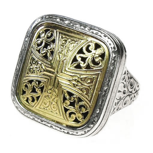 Solid 18K Gold & Sterling Silver - Medieval-Byzantine Cross Ring