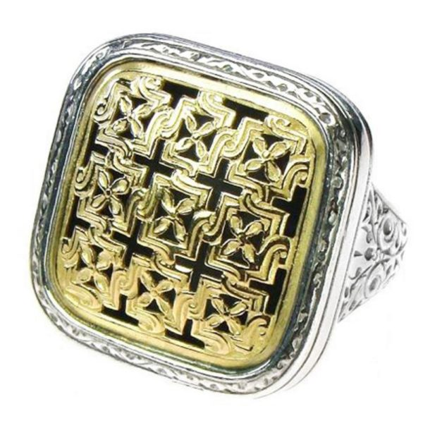 Solid 18K Gold & Sterling Silver - Medieval-Byzantine Large Ring