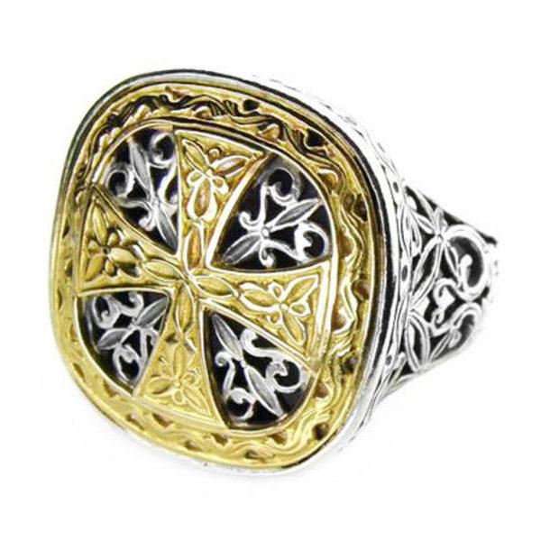 Gerochristo Solid 18K Gold & Silver - Medieval Byzantine Cross Ring
