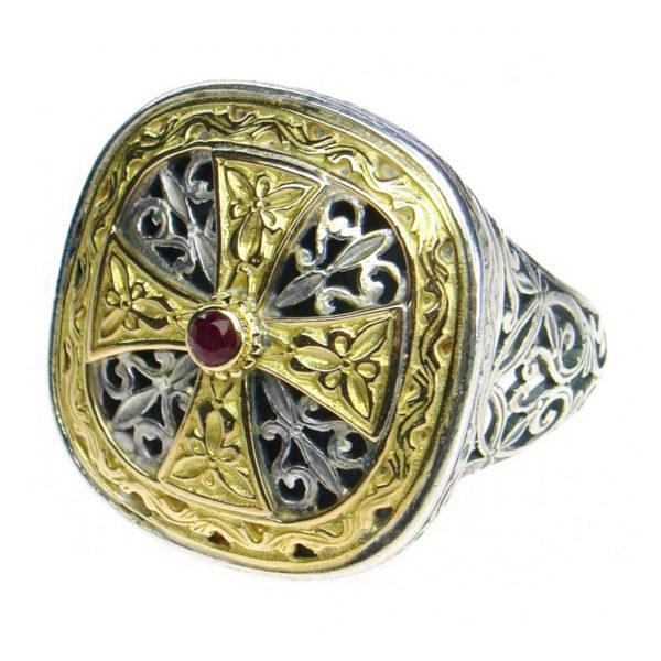 Gerochristo Solid 18K Gold, Silver & Ruby - Medieval-Byzantine Cross Ring
