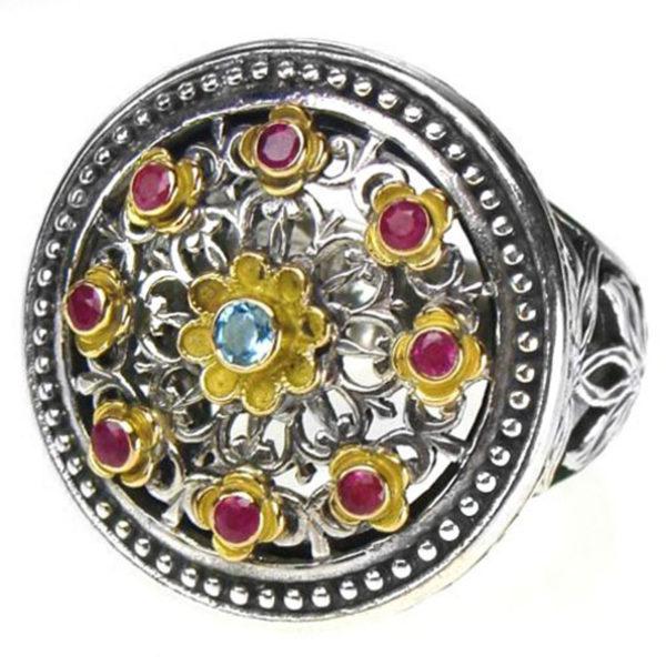 Gerochristo Solid 18K Gold, Silver & Stones Multicolor Medieval-Byzantine Ring