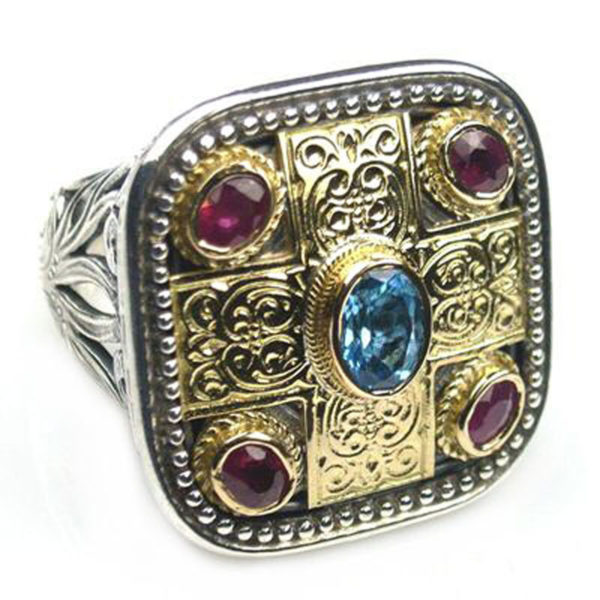 Solid 18K Gold, Silver, Topaz & Rubies - Medieval-Byzantine Ring