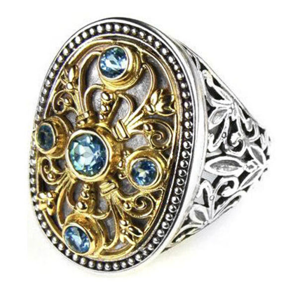 Solid 18K Gold, Silver & Stones - Medieval Byzantine Ring