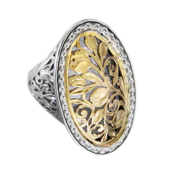 Solid 18K Gold and Silver Medieval-Byzantine Filigree Large Ring