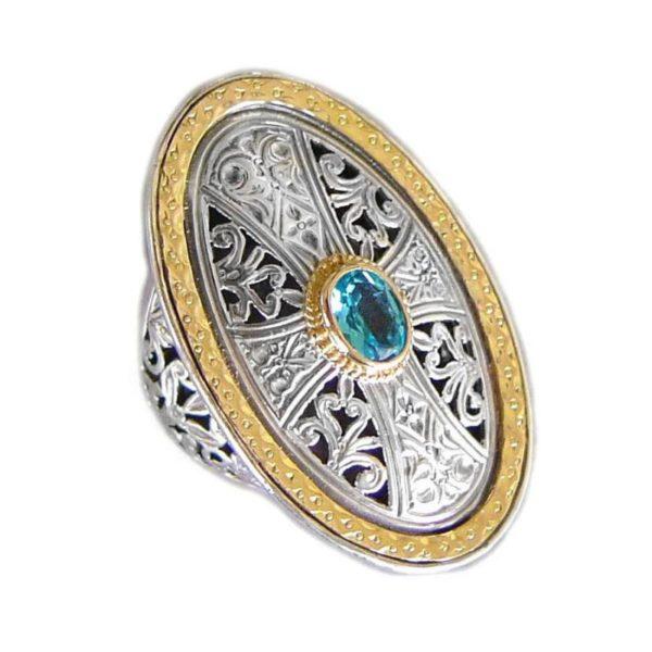 Gerochristo Solid 18K Gold, Silver & Topaz - Medieval Byzantine Cross Ring