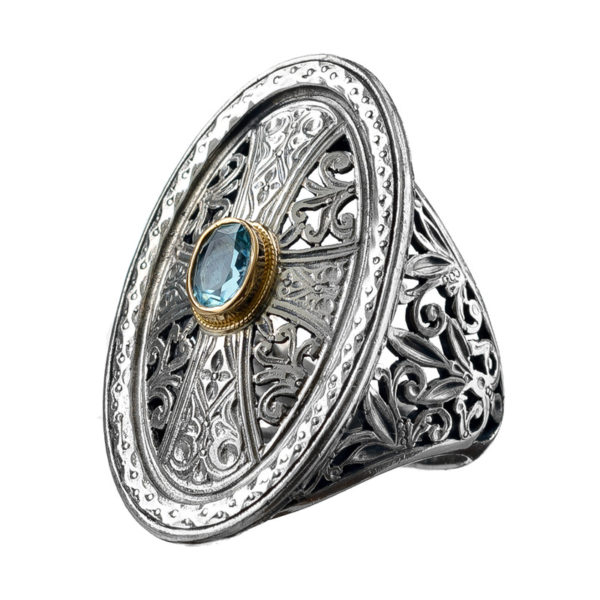Gerochristo Solid 18K Gold, Silver & Stones Medieval-Byzantine Cross Ring