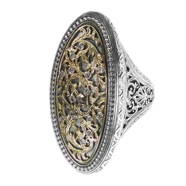 Solid 18K Gold, Sterling Silver & Diamonds Medieval-Byzantine Large Ring