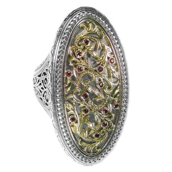 Solid 18K Gold, Silver & Rubies Medieval-Byzantine Cocktail Ring