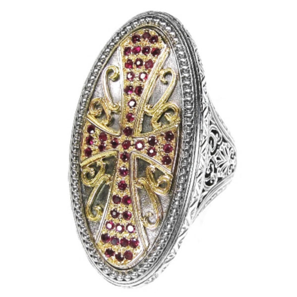 Solid 18K Gold, Silver & Rubies Medieval Byzantine Large Cross Ring