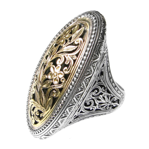 Solid 18K Gold and Silver Medieval-Byzantine Large Filigree Ring