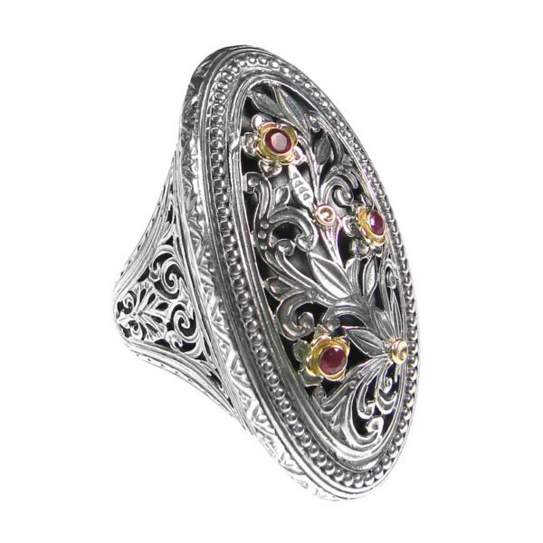 Solid 18K Gold, Silver and Rubies Medieval-Byzantine Large Filigree Ring